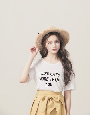 PAZZO MIT I like cats more than you字母棉質上衣