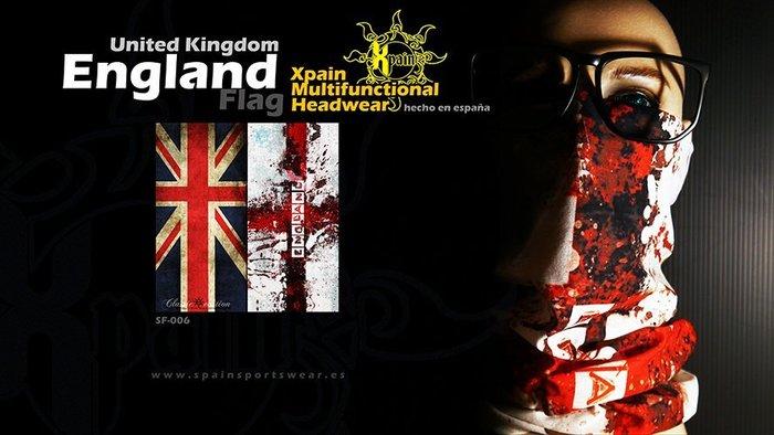 純正西班牙製造西班牙Xpain多功能頭巾 魔術頭巾 英國國旗 英格蘭國旗亦有其他國家國旗多功能頭巾 西班牙 德國 德意志