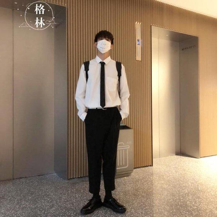 送領帶!港風秋季新品大碼長袖白色襯衣男襯衫寬鬆男士襯衣潮