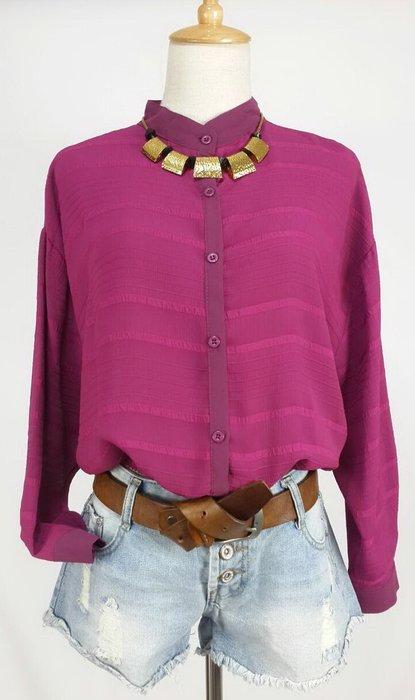 新款紫紅色雪紡短版縮口上衣  現貨一件喔!~
