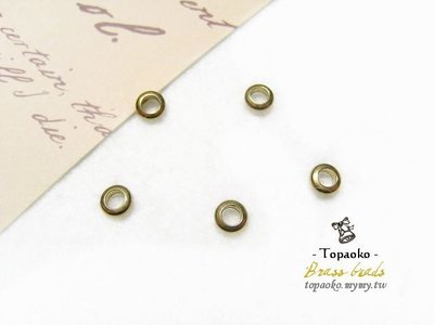 《晶格格的多寶格》串珠材料˙隔珠配件 實心黃銅扁單圈隔珠一份(15P)【F7145】4.5mm