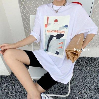 (現貨)韓國涼感寬鬆後背鏤空印花短袖t恤