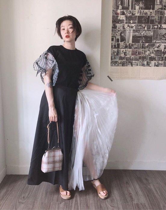 SeyeS  {韓國空運} 時尚雜誌百搭設計感拼接摺紗長裙