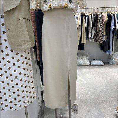 cozyday~One Time夏季新款半身裙女純色氣質高腰顯瘦中長款百搭開叉包臀裙