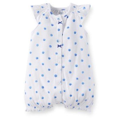 [[W&R]] ((0-24m)) Carter's 白色粉藍點點夏日連身衣 12m,18m