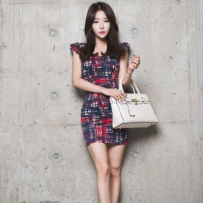 ❤My Lady 千奈公主❤2019夏新款韓版修身包臀顯瘦性感印花連衣裙V領荷葉袖背心裙   E104