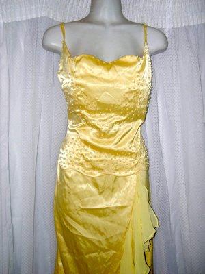 @ ╮全面淨空大特賣╭@三百零一元亂亂標~~~粉黃色優雅時尚禮服
