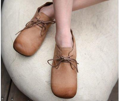 【鈷藍家】文藝鞋履復古原創秋季新款英倫風真皮小皮鞋軟底深口牛皮平底單鞋女