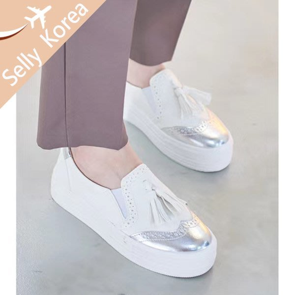 正韓  懶人鞋  厚底 內增高 流蘇牛津 休閒鞋-Selly-沙粒-(KR301)3色