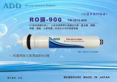 【水易購淨水網-苗栗店】ADD RO膜 90G (日造水量90加侖、日本膜片)