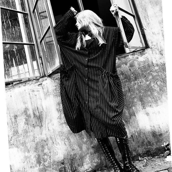 *菇涼家*暗黑朋克领中長款條纹襯衫连衣裙长款廓形宽松显瘦两穿上衣女