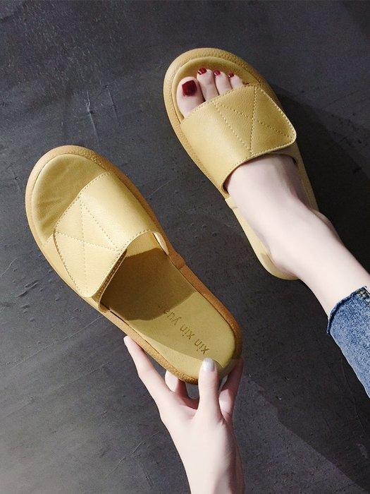 創意夏季女鞋 網紅涼拖鞋女夏時尚外穿中跟新款百搭厚底松糕女士沙灘一字拖