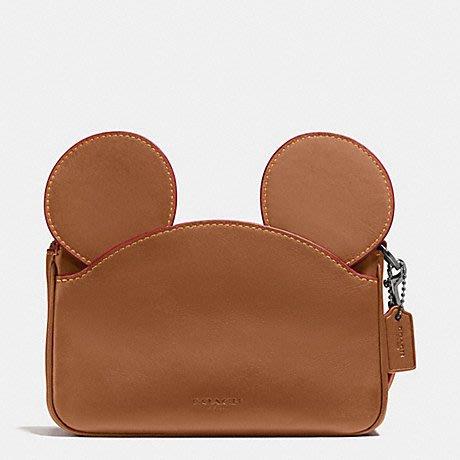 美國百分百【全新真品】COACH X Disney 迪士尼 米奇耳朵 手拿包 59529 真皮 錢包皮包 棕色 I250