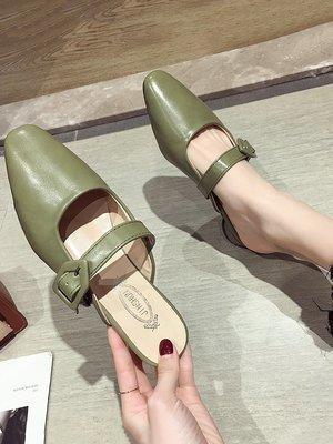 小尤家~拖鞋女可愛ins夏款尖頭包頭淺口半拖鞋韓版百搭一字扣穆勒鞋