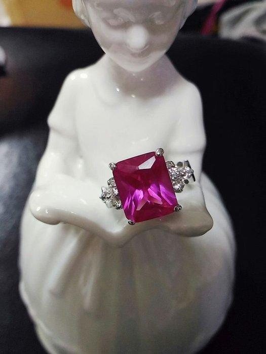 比利時設計師品牌桃紅色水晶戒指 應有3克拉