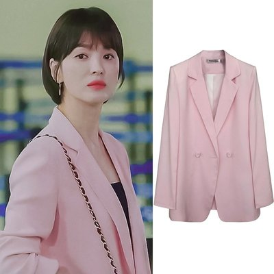 預購-小西裝女外套中長款2019春秋新款顯瘦韓版氣質宋慧喬同款粉色西服
