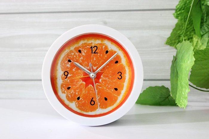 自然水果味 橙子小鬧鐘坐鐘 橘子桌鐘時鐘表  田園