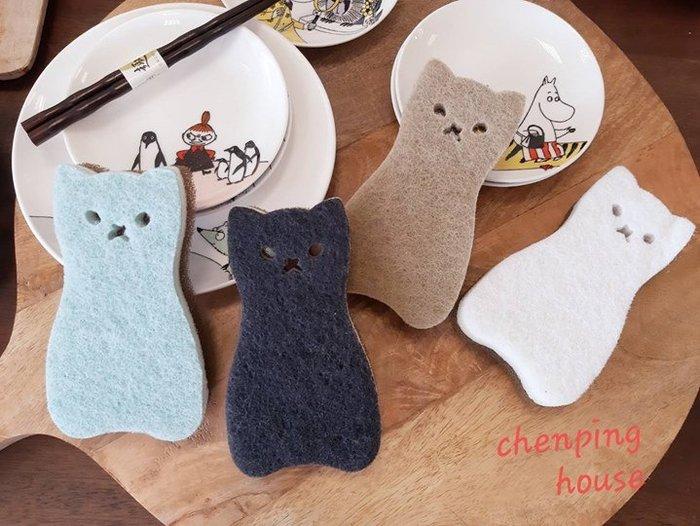 誠萍~日本雜貨 貓咪造型海綿 療癒系貓咪菜瓜布 4入 質地比菜瓜布柔軟不會刮傷碗盤三層構造很耐洗易起泡直購價$75/組
