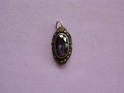外國925老銀墜:馬賽克紫水晶