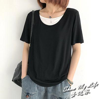 【夢想家】莫代爾純棉假兩件短袖T恤 圓領寬鬆套頭打底衫/6色-0414