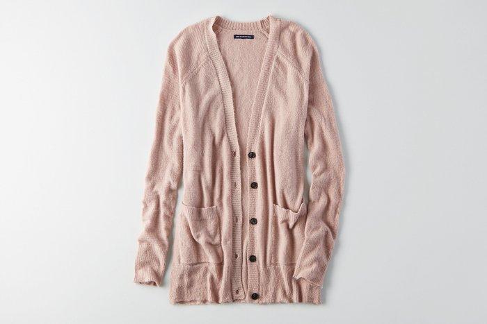 Maple麋鹿小舖 American Eagle * AE 粉色針織長版外套 * ( 現貨S號 )