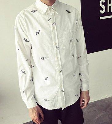 韓國 小飛機 刺繡 紙飛機 白襯衫 透氣 滿版 男 女