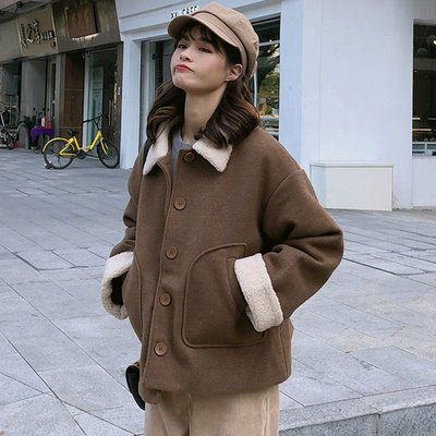 流行大衣新款韓版百搭寬松開衫長袖季網紅毛呢外套女潮