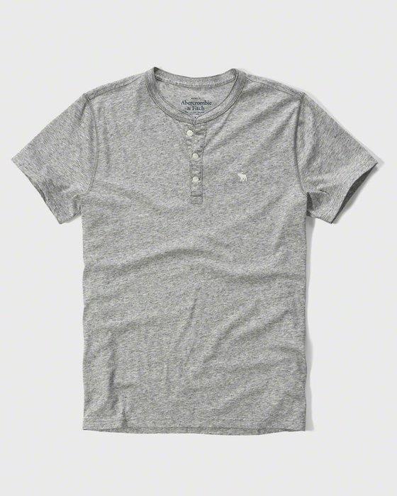 美國百分百【Abercrombie & Fitch】T恤 AF 短袖 T-shirt 亨利領 麋鹿 男 灰色 I122