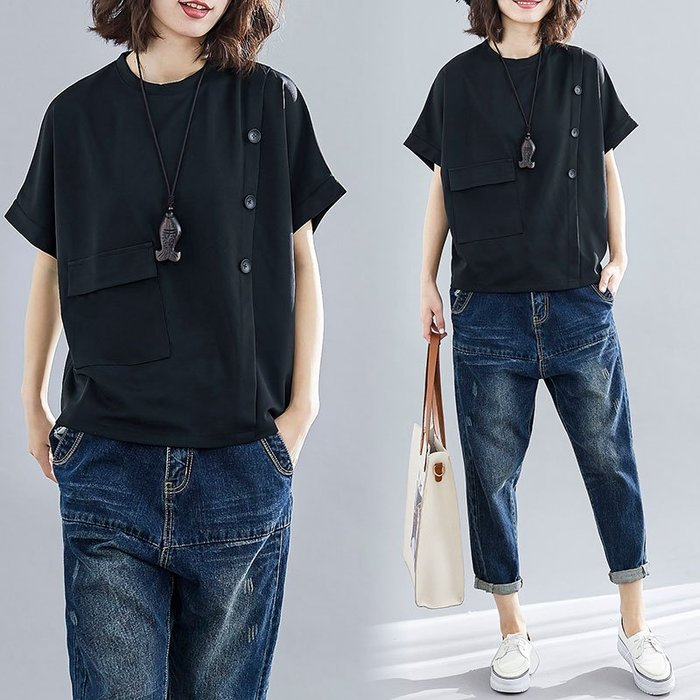 寬鬆排扣口袋設計短袖T恤上衣 M-2XL