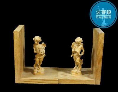 【波賽頓-歐洲古董拍賣】歐洲/西洋古董 德國早期 20世紀 可愛手工木雕 音樂小天使書檔(尺寸:16 x 12 x 20 cm)(年份:約1990年)
