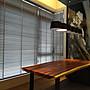 賞心悅目專業窗簾訂製安裝:APEX.50mm立體木紋.實木片.單繩式百葉窗加布梯帶.控制上下及調整光源只有一條繩ㄡ~