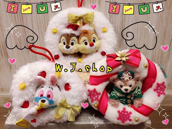 剩雪莉枚☆汪將☆日本迪士尼 聖誕節 耶誕花圈 花環 奇奇蒂蒂 達菲 雪莉枚 愛麗絲 時鐘兔 絨毛布偶吊飾 掛飾