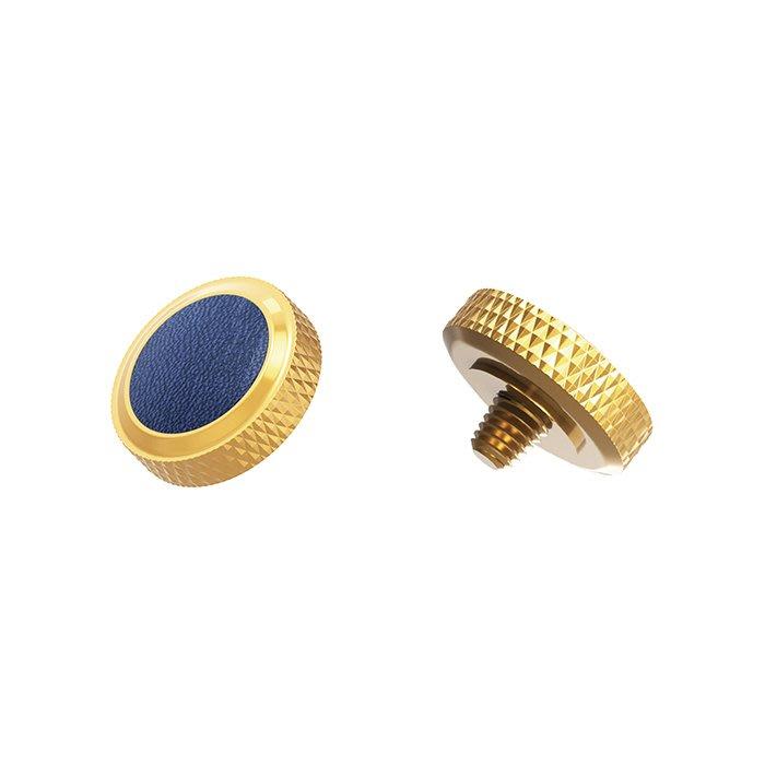 【傑米羅】JJC 機械相機 螺牙式 快門按鈕 增高鈕《純銅製 豪華版》(SRB-DGD 金框藍皮) - 帶防脫圈 防鬆脫