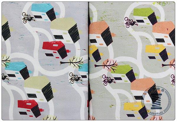 ✿小布物曲✿鄉村地圖 100%有機棉印花布 窄幅110CM 韓國直送質感優 單價/尺 2色