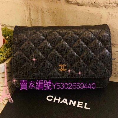 (已售出.勿下標)Chanel woc 荔枝皮黑色金釦 chanel woc 斜背包 鏈包