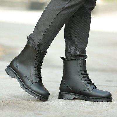 歐美時尚型男馬丁雨鞋 工作鞋 防水 耐磨 -黑色43