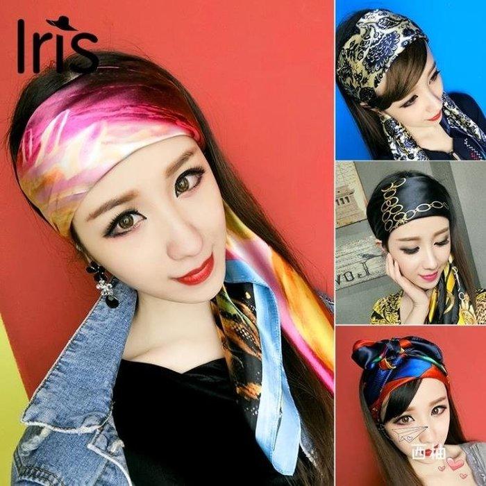 頭巾歐美復古百搭頭巾正韓寬邊頭飾扎頭髮飄帶chic風髮飾個性森女髮帶