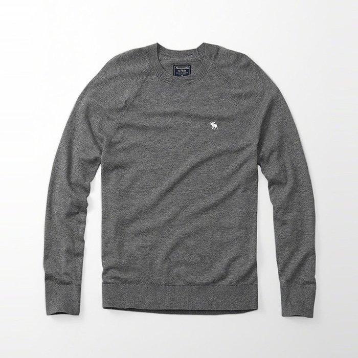 美國百分百【Abercrombie & Fitch】針織衫 AF 毛衣 麋鹿 圓領 羊毛 線衫 灰色 大尺碼 H405