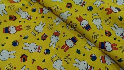 豬豬日本拼布/限量版權卡通布/黄色米飛兔/牛津布厚棉布材質