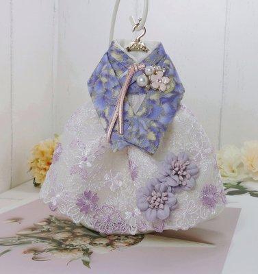 檸檬手作飾品   紫色燙金小花蕾絲韓服手作鑰匙圈/包包吊飾