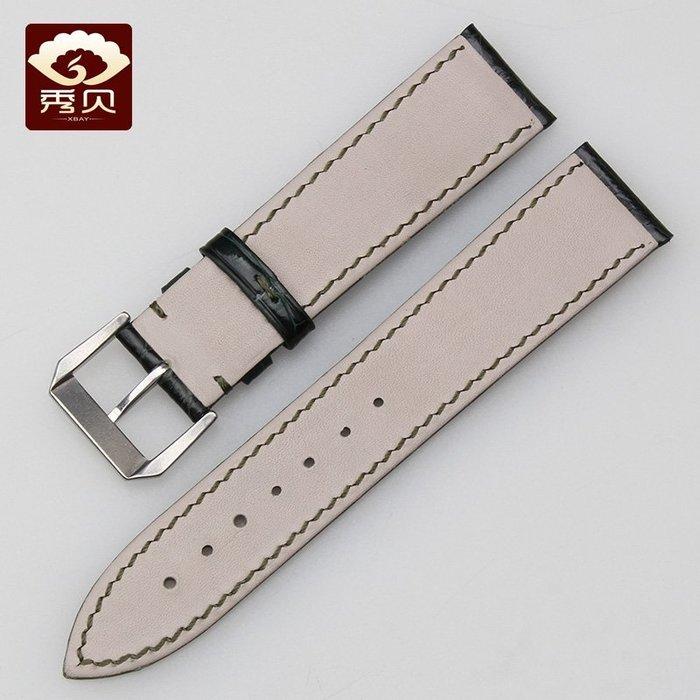 鱷魚皮錶帶 代用勞力士水鬼手錶帶 默綠色 20mm男士手錶配件
