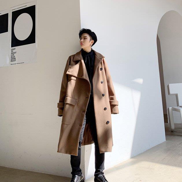 FINDSENSE 2019 秋冬上新 G19  不對稱呢料寬鬆慵懶呢長大衣黑色風衣男裝百搭寬鬆休閒外套