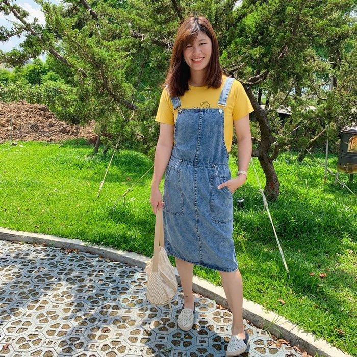 正韓【Meet Shop】Aug-34 減齡抽繩牛仔吊帶裙 牛仔藍 單一尺寸 S~L