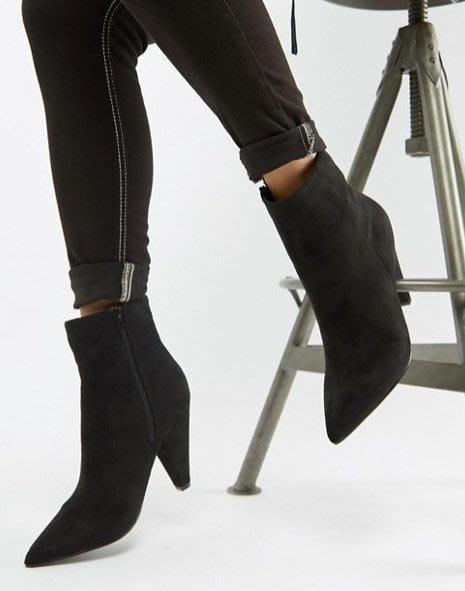 ◎美國代買◎ASOS代買三角高跟搭配尖楦頭經典百搭復古時尚街風尖頭高跟麂皮短靴踝靴~歐美時尚~大尺碼