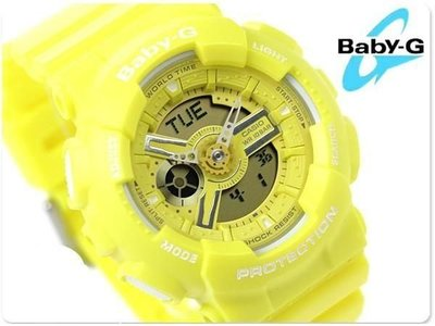 【BELLO】CASIO G-SHOCK BA-110BC-9A  《Baby-G↘少女時代最新代言款》G-Shock MINI系列 黃色