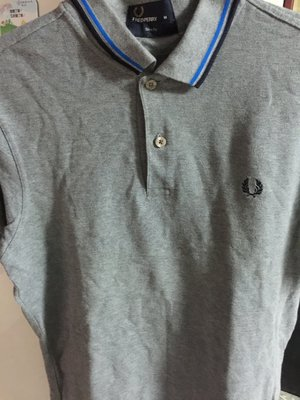 Fred perry polo 衫 M 號 藍 黑 灰 條紋 灰
