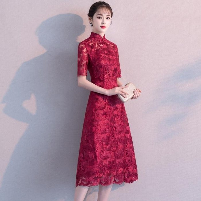 小禮服 敬酒服新娘新款秋季中袖中長款蕾絲中式結婚禮服裙紅色旗袍女【樂購一丁】