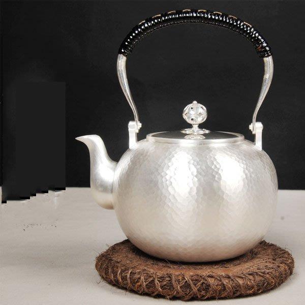 5Cgo【茗道】含稅會員有優惠 45202838502 日本銀壺純銀茶壺純手工提梁銀壺燒水壺煮茶壺純銀茶具銀器銀茶壺熱水