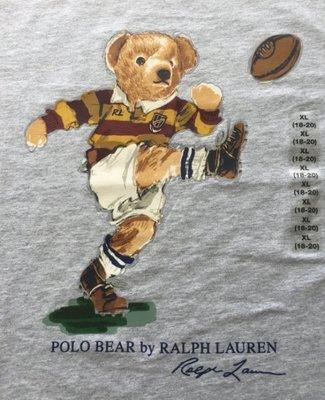 Ralph Lauren POLO 限量polo熊 青年款 印花 T恤 現貨 灰/足球熊
