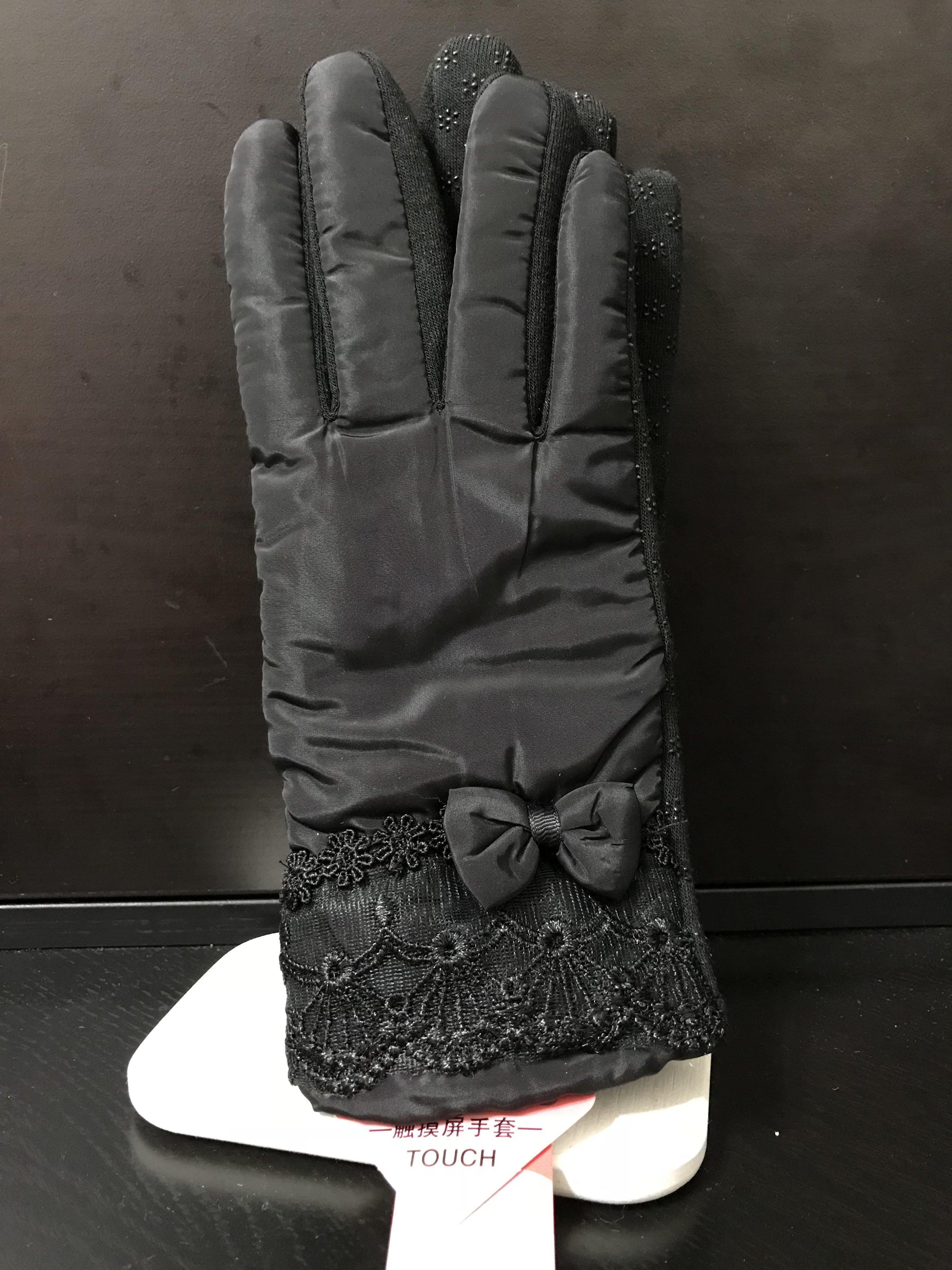 防風保暖手套 觸摸屏手套 女用止滑手套 【F。黑色】
